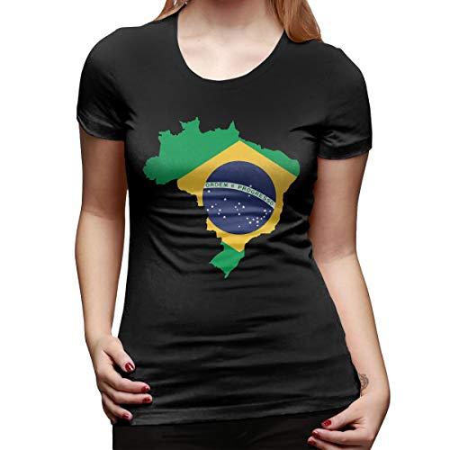 Slotley Women's Brazil Map On Brazil Flag Cotton T-Shirt S Black