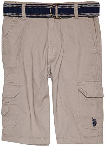 U.S. Polo Assn. Boys Cargo Flex Shorts with Belt Included, Light Khaki, Size 12' - Light Khaki Cargo Shorts