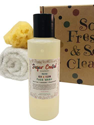 Organic Kids Deodorant + Tear Free Teen Acne Face Wash Cleanser + Shampoo Body Wash Bar Soap, Tea Tree (Childrens Gift…