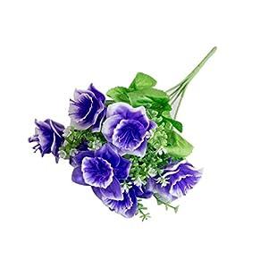 YINGYUE Lifelike Natural Color Artificial Gypsophila Daffodil Flower Plant Home Office Wedding Party Decor Dark Purple 93