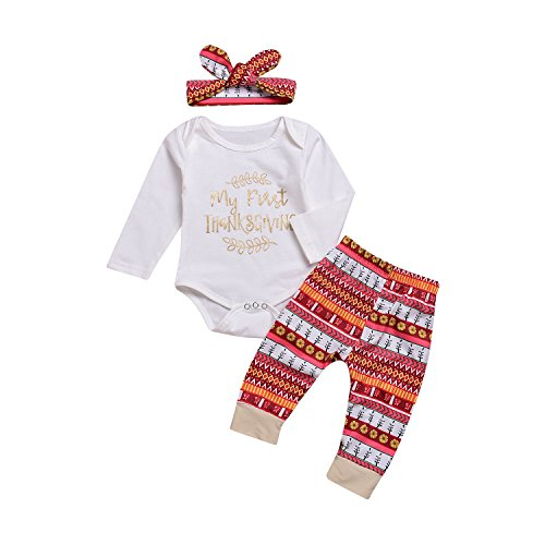 Thanksgiving Baby Girls Boys Clothes My 1st Thanksgiving Outfit Infant Long Sleeve Romper Tops+Pants+Headband Clothes Set by VIWORLD