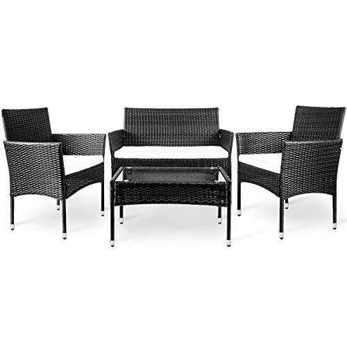 LZ LEISURE ZONE 4 PC Rattan Patio Furniture Set Outdoor Garden Cushioned Seat Wicker Sofa (Black)