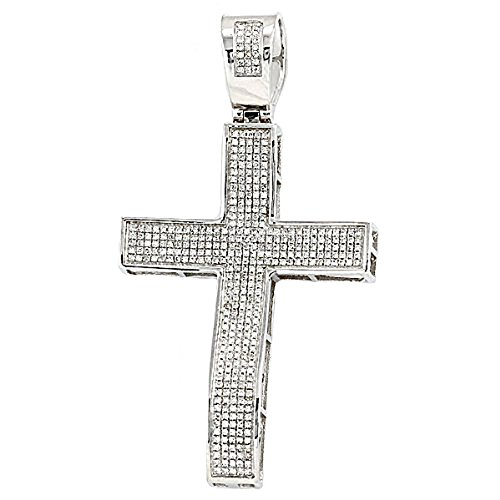 0.75 Carat (ctw) Sterling Silver Micro Pave White Diamond Mens Hip Hop Religious Cross Pendant by DazzlingRock Collection
