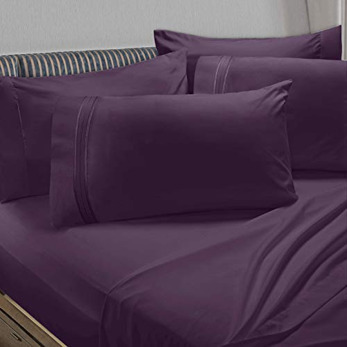 - Clara Clark Premier 1800 Collection 6pc Bed Sheet Set with Extra Pillowcases, Flex-Top King, Eggplant Purple