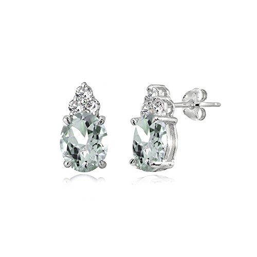 Sterling Silver Aquamarine and White Topaz Oval Crown Stud Earrings