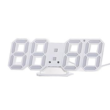SODIAL Reloj de alarma de reloj de pared LED digital moderno de escritorio de mesa 3D Reloj de 24 o 12 horas blanco: Amazon.es: Hogar