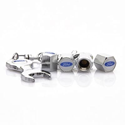 D&R Wrench Keychain Chrome Tire Valve Stem Caps for Ford: Automotive