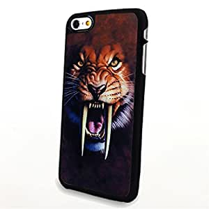 Generic Phone Accessories Matte Hard Plastic Phone Cases 3D Animal Portrait Saber Toothed Tiger fit for Iphone 6 Plus