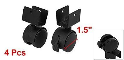eDealMax 1, 5 pulgadas Dia de ruedas T-Clamp 4pcs Top rotativo Con articulación Universal Freno Caster Negro: Amazon.com: Industrial & Scientific