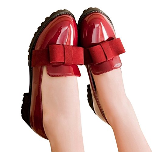 Susanny Women's Round Toe Patent Leather Slip on Shoes Sweet Bow Mid Heel Red Oxfords Loafers Shoes 8 B (M) US (Red Lace Flats Shoes Women)