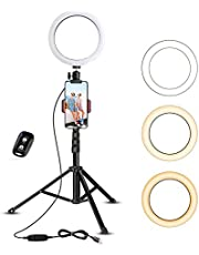UBeesize Selfie Ring Light with Tripod Stand & Cell Phone Holder for Live Stream/Makeup, Mini Led Camera Ringlight for YouTube Videos/Photography
