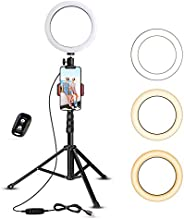 """8"""" Selfie Ring Light with Tripod Stand & Cell Phone Holder for Live Stre"""