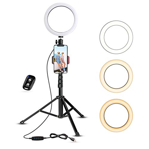 8″ Selfie Ring Light with Tripod Stand & Cell Phone Holder for Live Stream/Makeup