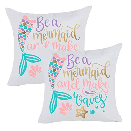 misaya Bronzing Flannelette Home Pillowcase 18x18 Decorative Cushion Pillow Cover Colorful Letters Gold Mermaid Throw Pillow Covers Set of 2