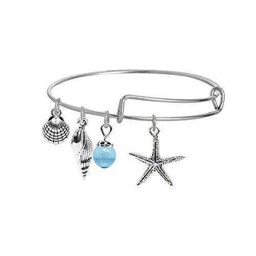 Bangle Shell Bangles (Penger Silver Starfish Shell Bracelet with Adjustable Alloy Wire Bangle Bracelet)