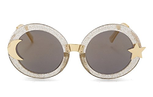Chezi Women's Glitter Shell-effect Acetate Moon Star Accent Round Sunglasses (gold, - Moon And Sunglasses Sun