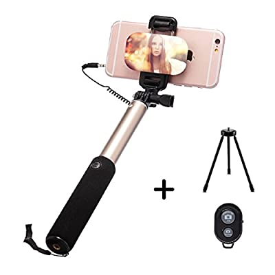 Selfie Stick WISDORIGIN Wire Control Bluetooth Monopod with Big Mirror Tripod Remote Shutter for iPhone X 8 8 Plus 7 Plus, 7, 6s, 6, 6 Plus, Android/Galaxy and All Other Smartphones