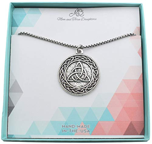 Men's Triangular Irish Trinity Celtic Knot Pendant in Silver Toned Metal on a 24