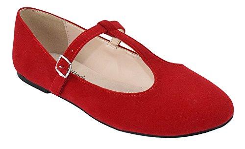 Città Classificate Donne Ballerine Mary Jane Scarpe Caviglia T-strap Borsone Rosso Camoscio
