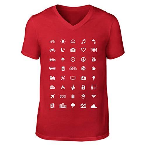 Malloom Voyage Col Tops V Symbole shirt Rouge Unisexe Manches Chemisier Imprimé T Courtes nIqw6HxY8W