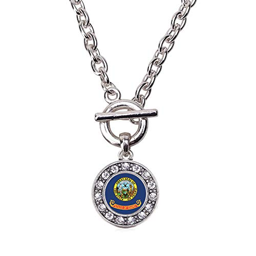 Inspired Silver - Idaho Flag Toggle Charm Necklace for Women - Silver Circle Charm 18 Inch Necklace with Cubic Zirconia Jewelry