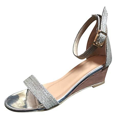 Women's Wedge Open-Toe Shoes- Summer Ankle Strap Belt Buckle Low Platform Sandals Silver