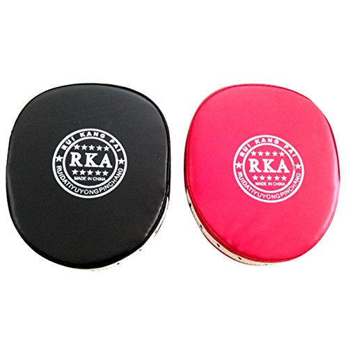 [Pansupply 2 Pcs Red/Black Boxing gloves pads Muay Thai kick boxing training target pads] (Thailand National Costume For Girls Kids)