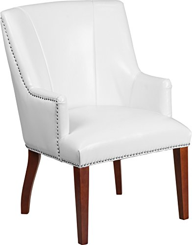 Executive Transitional Design White Leathersoft Side Reception Guest Chair by Belnick