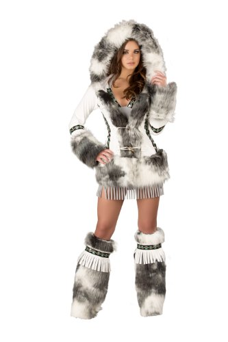 [J. Valentine Women's White Eskimo Coat with Toggle Closures, Grey, Small] (Edc Costumes Men)