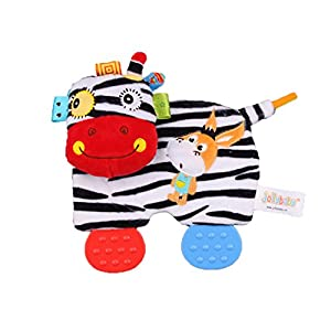 Dearmy Infant Rattles Toys – Baby Infant Cute Animal Plush Toy Comfort Towel with Sound Paper and Teether Soft Appease…