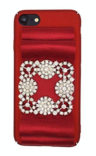 (Designer logo luxury elegant fashion ribbon rihnestones shiny fabric glitter Prom Wedding Case for iPhone 7 (4.7) Red)