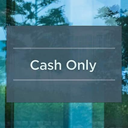 Basic Navy Window Cling CGSignLab 5-Pack Cash Only 18x12