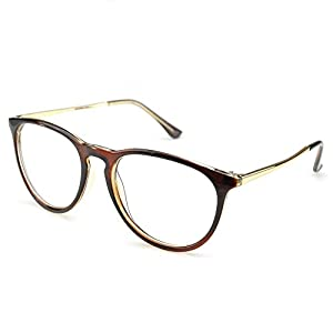PenSee Womens Fashion Oversized Clear Lens Round Circle Eye Glasses (Tea brown)