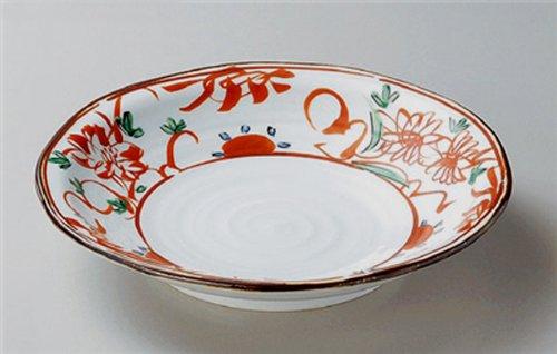 AKAE-FLOWER Jiki Japanese traditional Porcelain Medium Round Plate made in JAPAN by Watou.asia