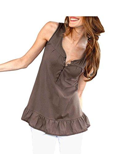 Cheer - Camiseta sin mangas - Opaco - para mujer marrón