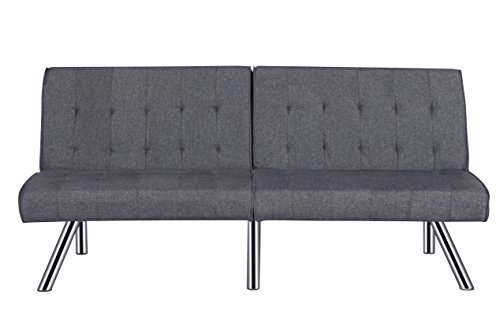 - Container Furniture Direct SB9022 Jayden Faux Leather Upholstered Modern Sleeper Sofa Bed, Grey