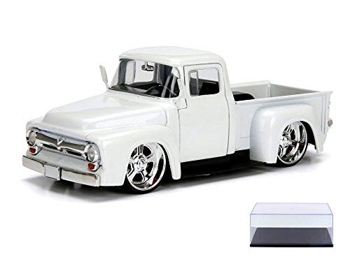 Diecast Car & Display Case Package - 1956 Ford F100, White - Jada 99045DP1 - 1/24 Scale Diecast Model Toy Car w/Display Case -  ModelToyCars, 99045DP1-JADA-WHITE-9906BK-BDL