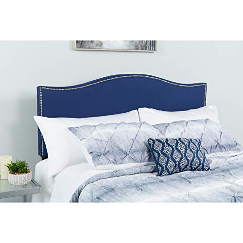 Flash Furniture Lexington Upholstered Twin Size Headboard with Accent Nail Trim in Navy Fabric - HG-HB1707-T-N-GG (Fabric Navy Headboard)