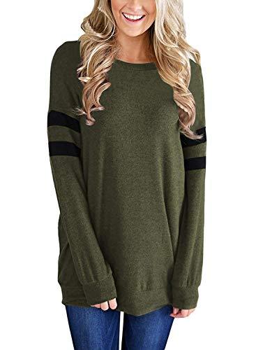 Green Fleece Crewneck Sweatshirt - Queadura Womens Casual Long Sleeve Round Neck Lightweight Sweatshirt Loose Pullover Tunic Tops Shirts