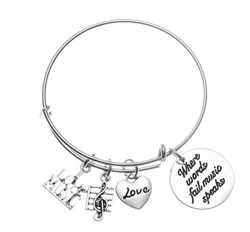Infinity Collection Music Bracelet - Where Words Fail Music Music Speaks Jewelry Gift - Treble Clef Jewelry - Music Note-Music Lover Jewelry Gift ()