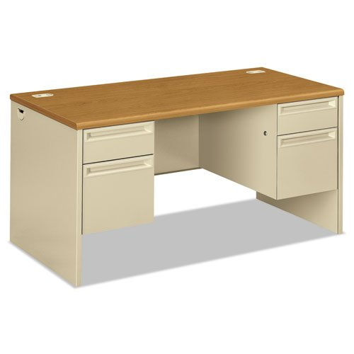 HON COMPANY 38000 Series Double Pedestal Desk, 60w x 30d x 29-1/2h, Harvest/Putty, Sold as 1 Each