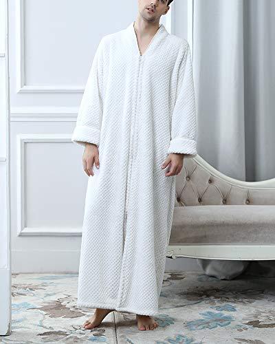 Morbido Lungo Accappatoio E Donna Unisex Leggero Pile Di Per Con M Robe Sleepwear E Corallo Pigiama Cerniera Bianco Accappatoio Uomo 0InYqwZ