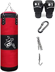 KKLU Heavy Boxing Empty Sandbag Hanging Punching Bag, Punching Bag with Gloves Special Chains and Hooks,for Ma