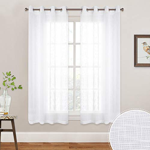 RYB HOME Linen Type Texture White Sheer Curtains for Bedroom Window Covering, Grommet Top Open Weave Semi Sheer Panels for Nursery/Kitchen, Each Panel 52 Width by 45 Length inch, One Pair