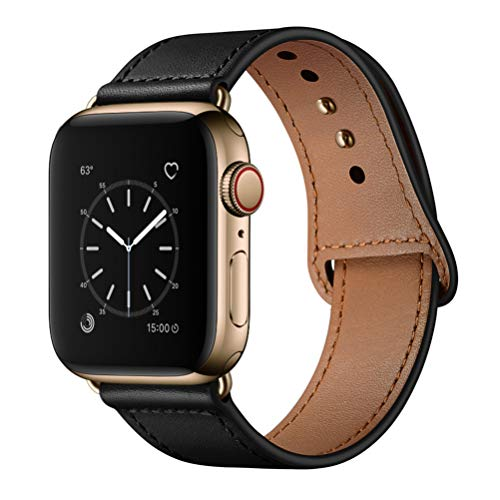 KYISGOS Compatible with iWatch Band 38mm 40mm, Genuine Leather Replacement Band Strap Compatible with Apple Watch Series 5 4 3 2 1 38mm 40mm, Black Band with Gold Adapter