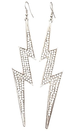 [Super Long Lightning Bolt Formal Prom Pageant Blingy Silver Tone Dangle Earrings] (Lightning Bolt Costumes)