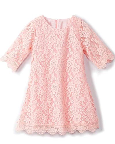 APRIL GIRL Flower Girl Dress, Lace Dress 3/4 Sleeve Dress (Pink, 6-12 Months) -