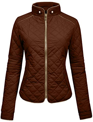 NE PEOPLE Womens Lightweight Quilted Zip Jacket, Large, NEWJ22BROWN ()