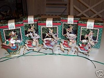Santa Reindeer Lights - Set of Five Hallmark Ornaments - Santa and His Reindeer Collection - Santa Claus, Dasher and Dancer, Prancer and Vixen, Comet and Cupid, and Donder and Blitzen