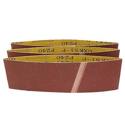 uxcell 3-Inch x 18-Inch 240 Grit Lapped Butt Joint Aluminum Oxide Sanding Belt 3pcs (3x18 Sandpaper)